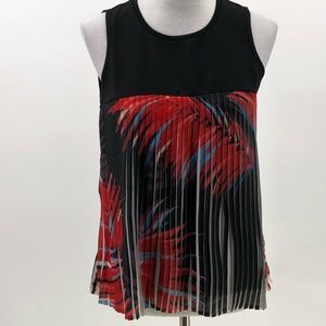 Davina sleeveless pleated blouse top sz S Small